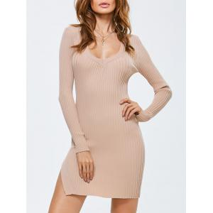 Side Slit Bodycon Ribbed Sweater Dress - Apricot - One Size