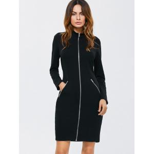Zipped Front High Neck Long Sleeve Bodycon Dress - BLACK L