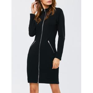 Zipped Front High Neck Long Sleeve Bodycon Dress