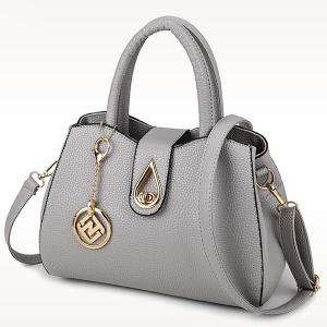Textured Faux Leather Pendant Handbag - LIGHT GRAY