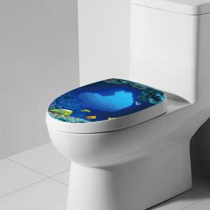 Removable Sea Fish Toilet Cover Wall Art Stickers - Ocean Blue - 5xl