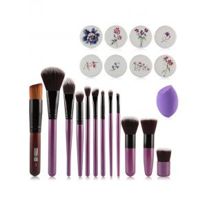 12 Pcs Makeup Brushes + Air Puffs + Makeup Sponge