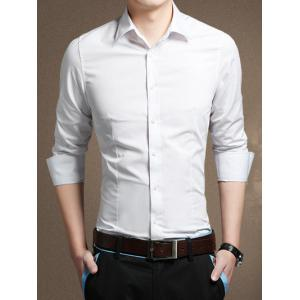 Long Sleeve Button Front Plain Shirt - White - L