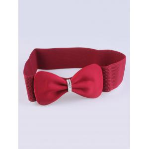 Rhinestone Stretch Bow Waist Belt - Burgundy - 130cm