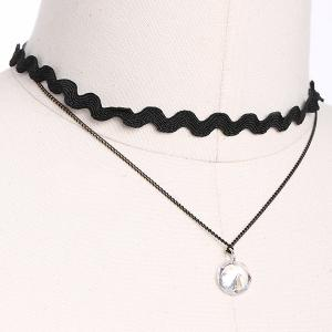 PU Leather Rhinestone Layered Choker Necklace -