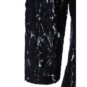 Plus Size Panel Lace Handkerchief Top - BLACK 5XL