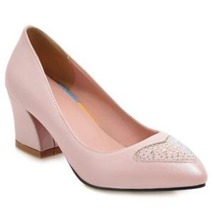 Point Toe Block Heel Pumps