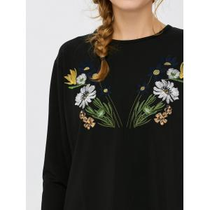 Floral Embroidered Self-Tie Long Sleeve Top -