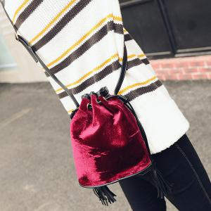 Velour Drawstring Tassel Bucket Bag - Wine Red