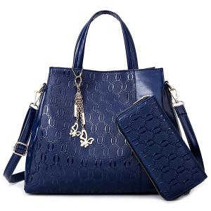 Embossed Handbag With Zip Around Wallet