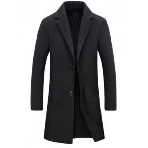 Turndown Collar Single Breasted Flocking Woolen Blends Coat - Black - L