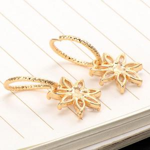 Rhinestoned Floral Drop Earrings - GOLDEN