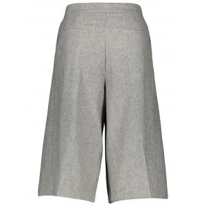 Wool Blend Capri Wide Leg Scrub Pants - GRAY S