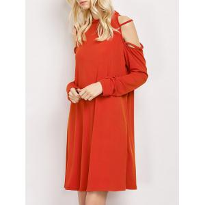 Cold Shoulder Strappy Loose Long Sleeve Dress