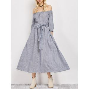 Off The Shoulder Belted Striped Midi Dress