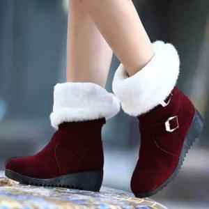 Fur Trim Wedge Heel Mid Calf Boots - WINE RED 38