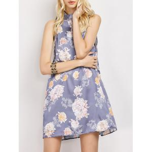 Stand Neck Sleeveless Floral Print Swing Dress - Floral - S
