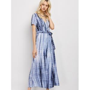 Tie-Dyed Short Sleeve Wrap Maxi Dress - Deep Blue - S