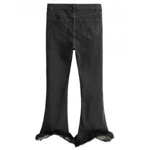 Fuzzy Ninth Flare Jeans - BLACK S