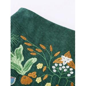 Floral Embroidered Corduroy A-Line Skirt -