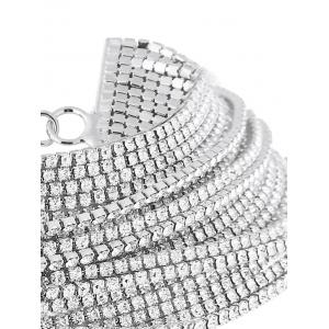 Statement Rhinestoned Multilayer Chain Necklace -
