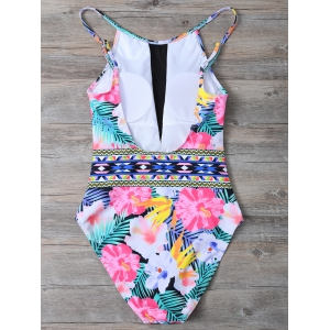 Tropical Floral High Neck One Piece Swimsuit - FLORAL L