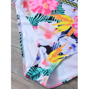 Tropical Floral High Neck One Piece Swimsuit -