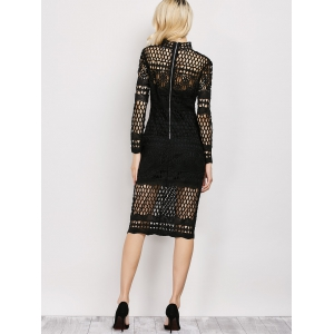 Long Sleeve Sheer Fishnet Lace Party Dress - BLACK M