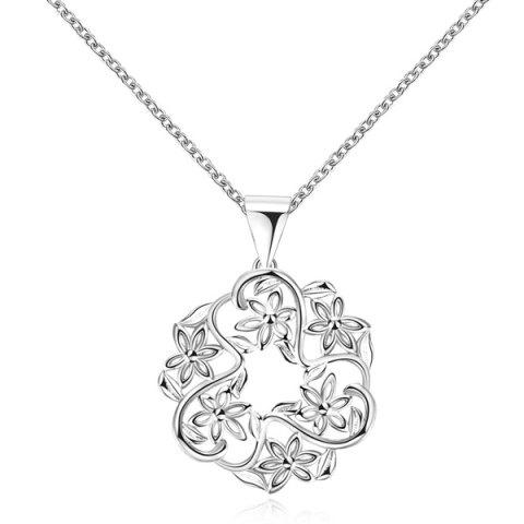 Hollow Out Floral Pendant Necklace - SILVER
