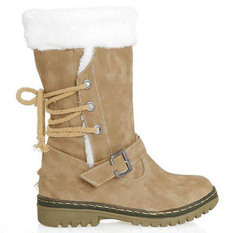 New Vintage Suede and Buckle Design Women's Boots - 35 KHAKI Mobile