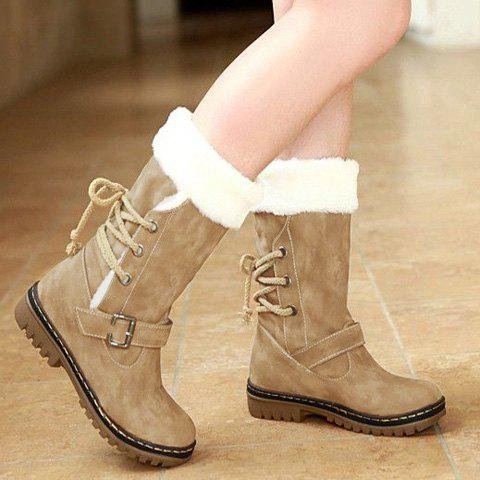 Affordable Vintage Suede and Buckle Design Women's Boots - 35 KHAKI Mobile