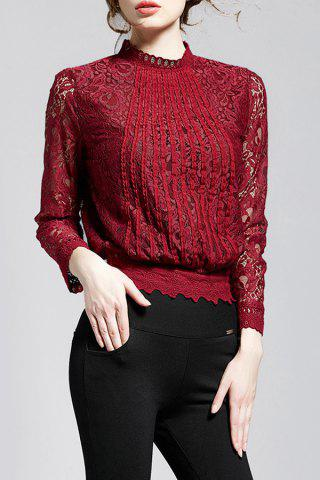 Outfits Stand Collar Lace Long Sleeve Top WINE RED XL