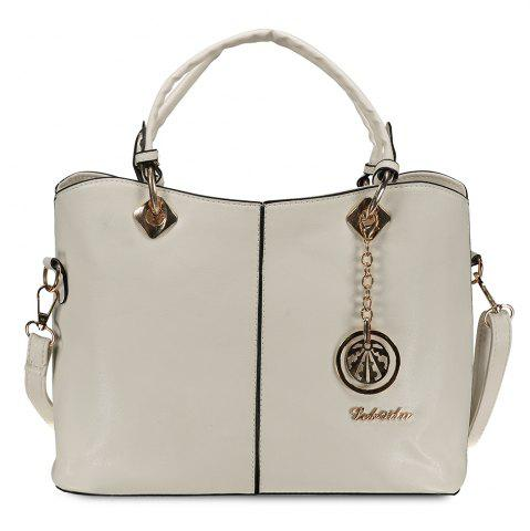 Trendy Fashion PU Leather and Pendant Design Women's Tote Bag OFF WHITE