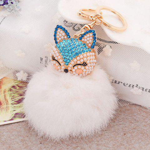 Hot Fake Pearl Rhinestone Fox Fuzzy Puff Ball Keychain BLUE