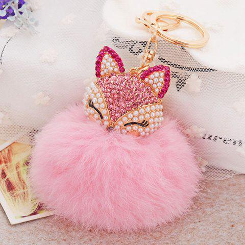 Fashion Fake Pearl Rhinestone Fox Fuzzy Puff Ball Keychain PINK