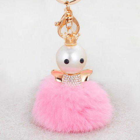 Chic Rhinestone Artificial Pearl Fuzzy Clip Ball Keychain - PINK  Mobile