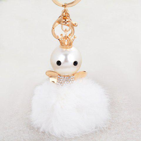 Trendy Rhinestone Artificial Pearl Fuzzy Clip Ball Keychain - GOLD AND WHITE  Mobile