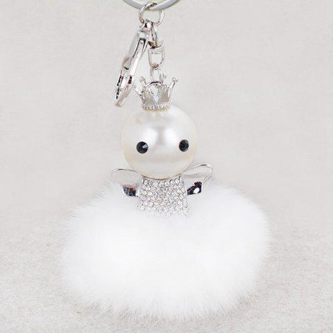 Buy Rhinestone Artificial Pearl Fuzzy Clip Ball Keychain SILVER AND WHITE
