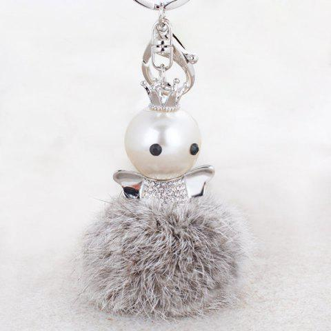 Shops Rhinestone Artificial Pearl Fuzzy Clip Ball Keychain - GRAY  Mobile