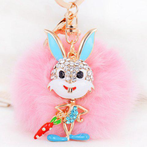 New Rhinestone Rabbit Fuzzy Puff Ball Keychain PINK