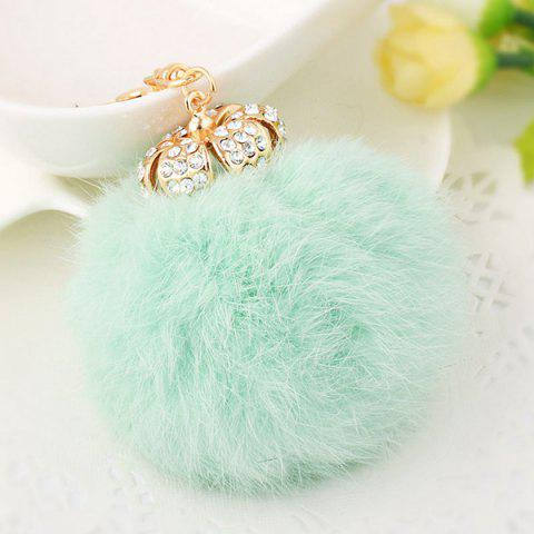 Best Rhinestone Crown Fuzzy Puff Ball Keychain GRASS GREEN
