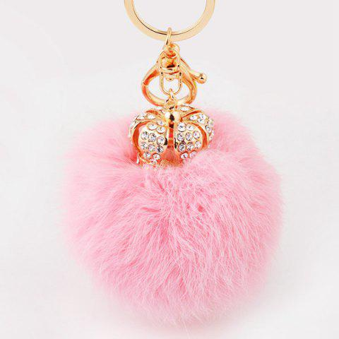 Outfits Rhinestone Crown Fuzzy Puff Ball Keychain - PINK  Mobile