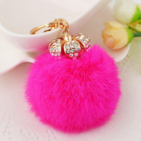 Fancy Rhinestone Crown Fuzzy Puff Ball Keychain TUTTI FRUTTI