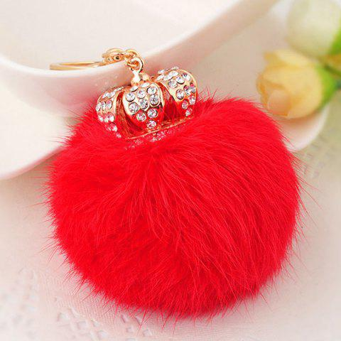 Buy Rhinestone Crown Fuzzy Puff Ball Keychain - RED  Mobile