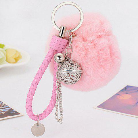 Fashion Artificial Leather Rope Fuzzy Ball Keychain PINK