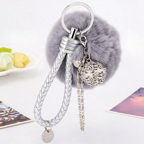 Artificial Leather Rope Fuzzy Ball Keychain - GRAY