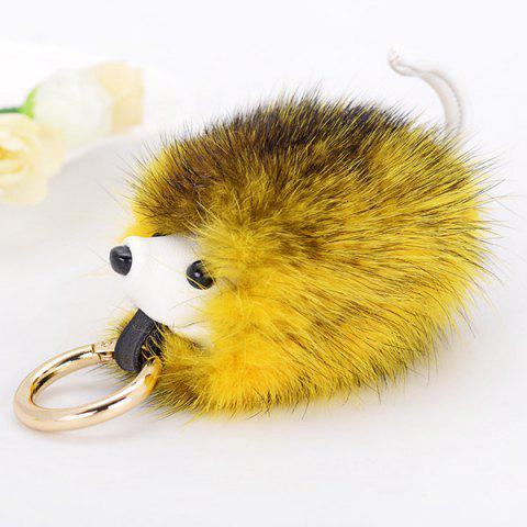 Fancy Hedgehog Fuzzy Ball Keychain - YELLOW  Mobile