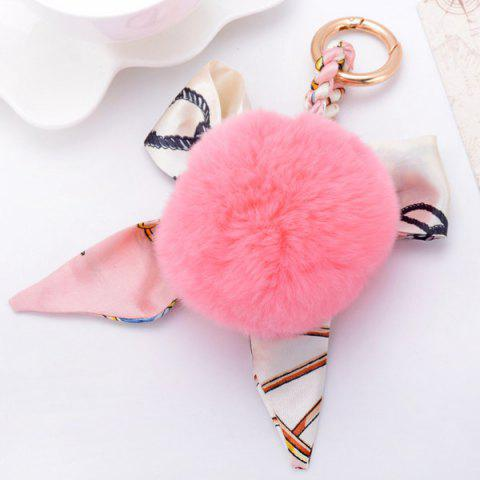 Bows Fuzzy Clip Puff Ball Keychain - PINK