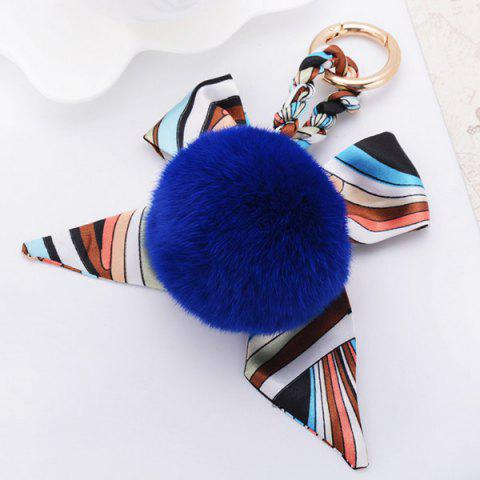 Chic Bows Fuzzy Clip Puff Ball Keychain BLUE