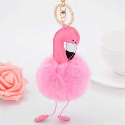 New Artificial Leather Bird Fuzzy Puff Ball Keychain - PINK  Mobile